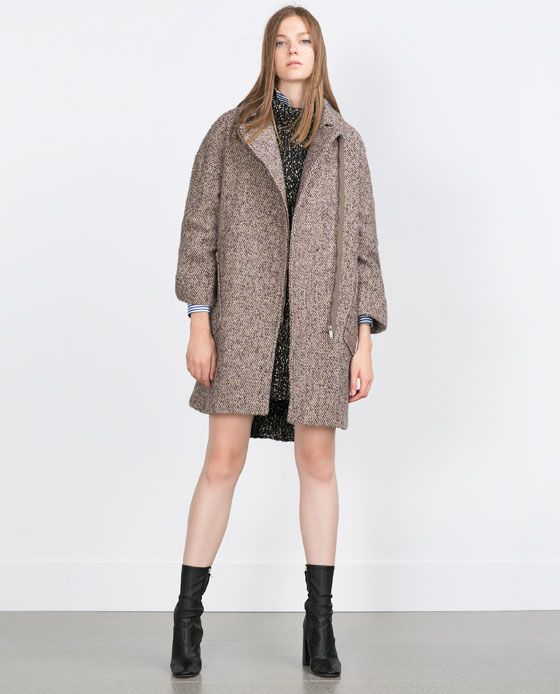 Image 1 of WOOL COAT WITH ZIP from Zara | My Style Pinboard ...