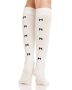 kate spade new york Flocked Bow Knee-High Socks
