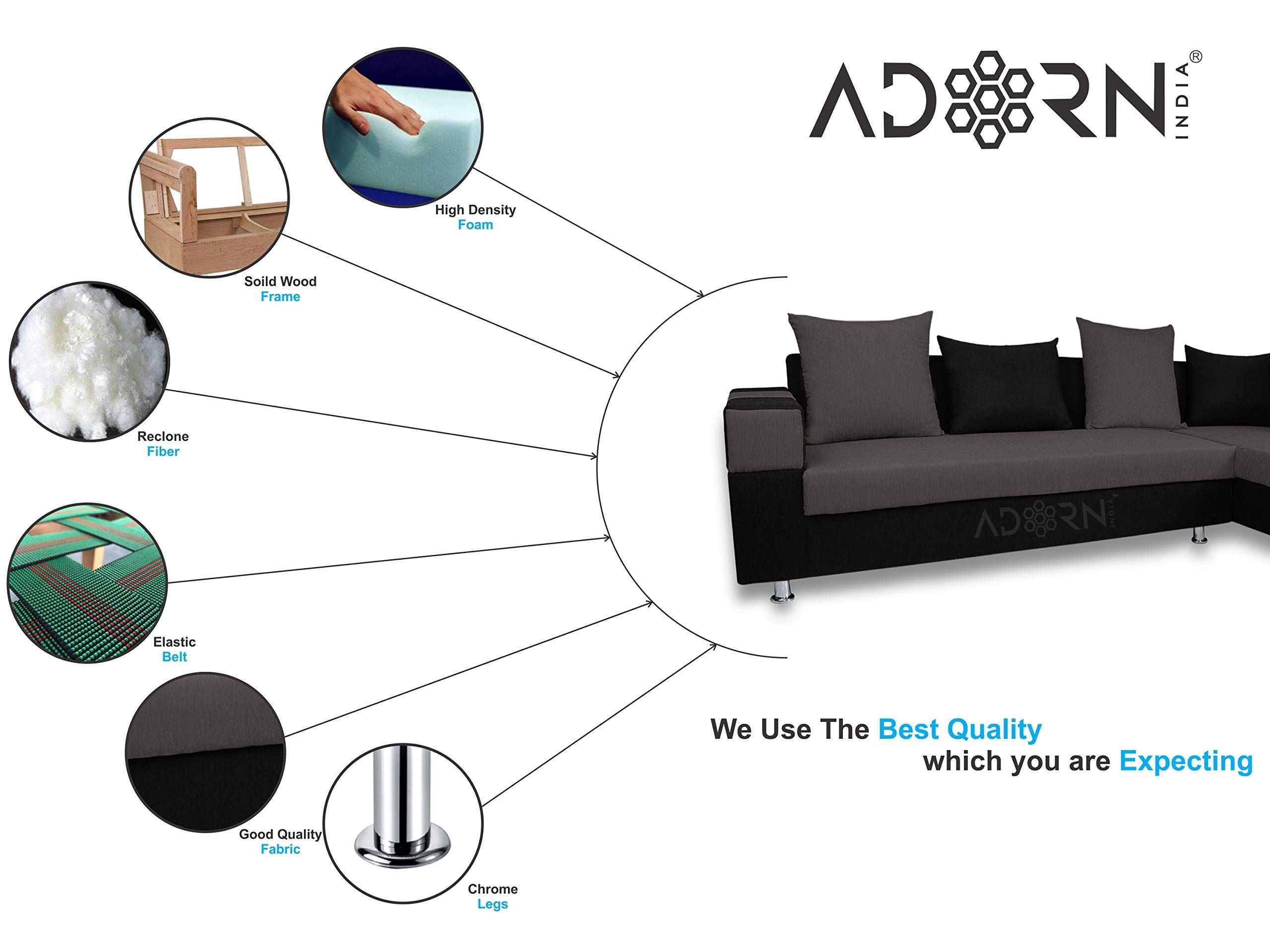 Adorn India Adillac 5 Seater Corner Sofa Right Side Grey Black Amazon In Electronics In 2020 5 Seater Corner Sofa Corner Sofa Home Accessories