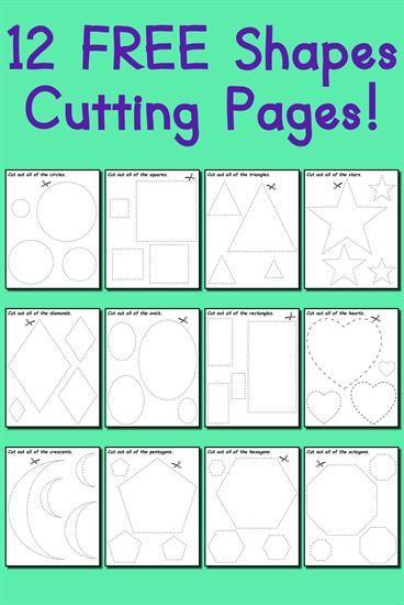 12 FREE Printable Shapes Cutting Worksheets! | Shapes worksheets ...