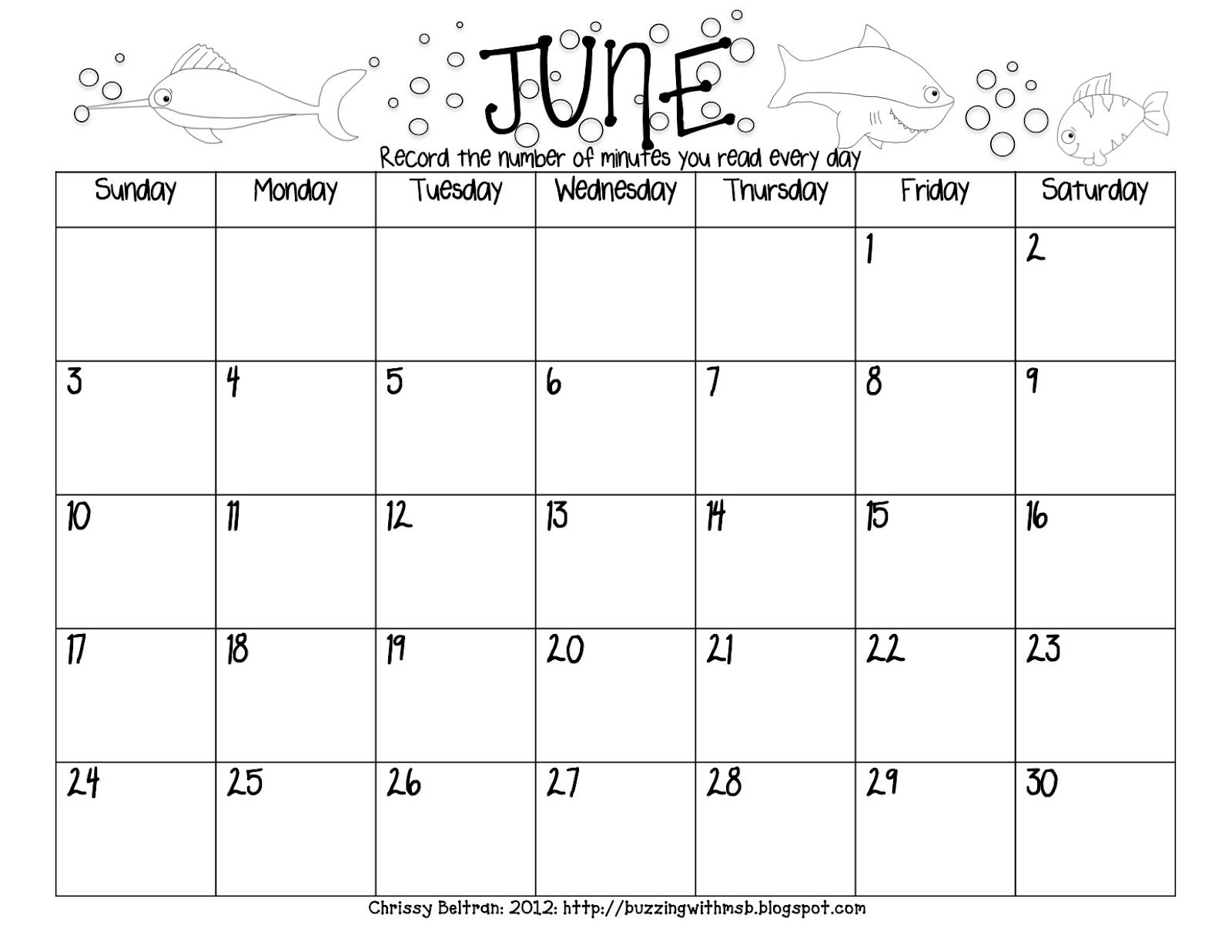 Summer Reading Log Freebie  Calendar Style  June July Aug