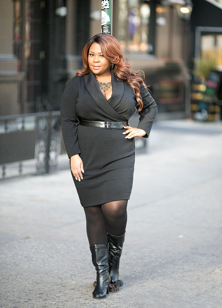 This Plus Size Sweater Dress Has A Tailored Look With Its Shawl