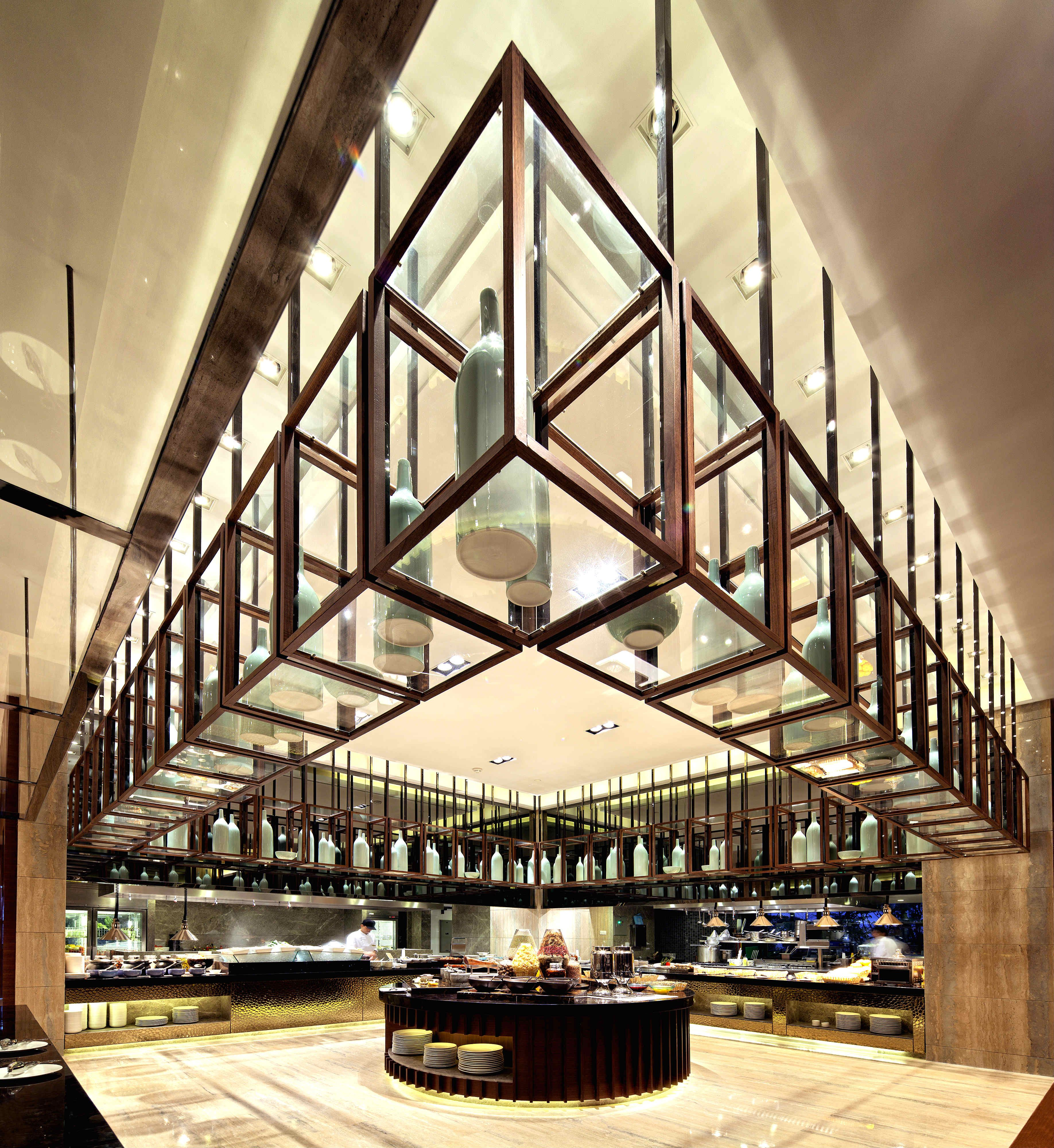 Buffet Cuisine Design The Gigantic Wooden Open Grid Above The Buffet Server
