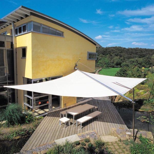 sonnensegel großflächige Beschattung-Garten Teich terrasse - mediterrane terrassenberdachung
