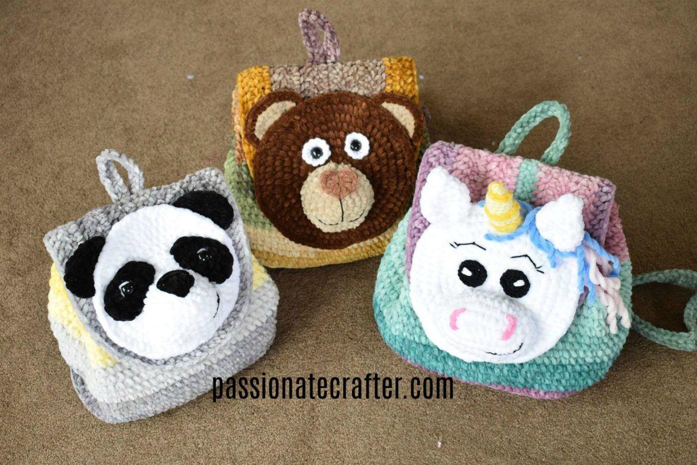 Backpack selfstripe velvet yarn animals' world
