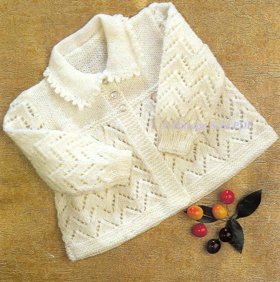Baby 4ply Collared Jacket with instructions for two sizes 18-19 ins ...