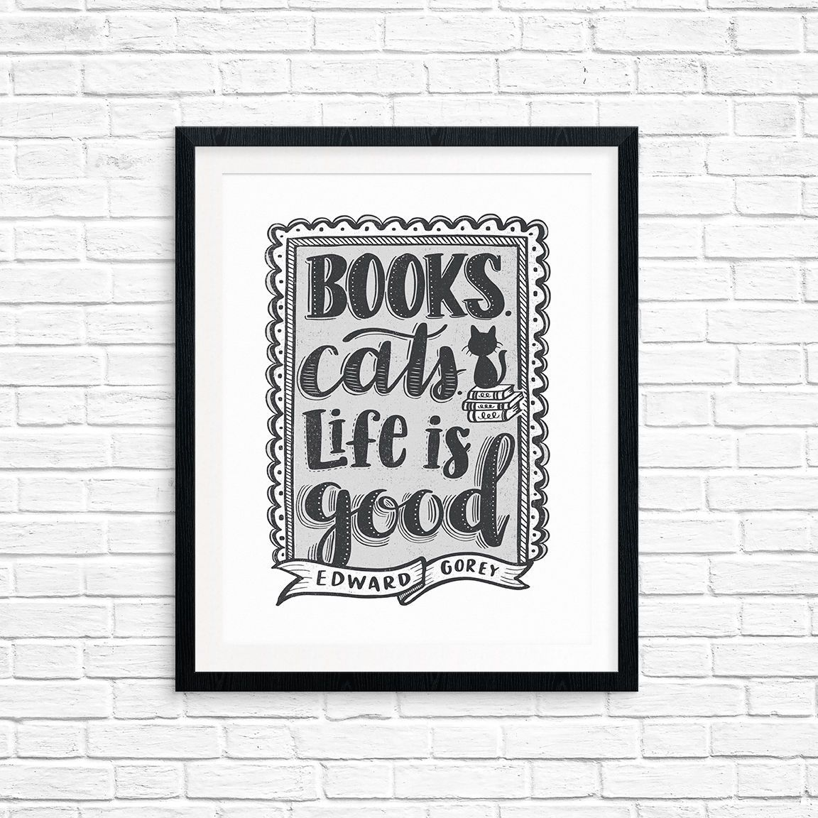 Printable art books cats life is good edward gorey book lover printable art books cats life is good edward gorey book lover quote art amipublicfo Gallery