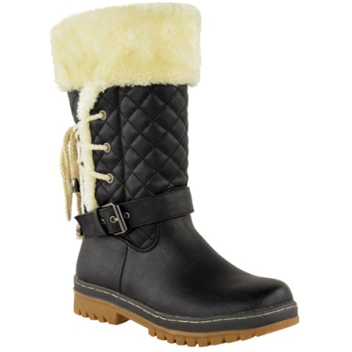 Womens Ladies Faux Fur Lined Girls Mid Calf Quilted Flat Winter Snow Boots Size