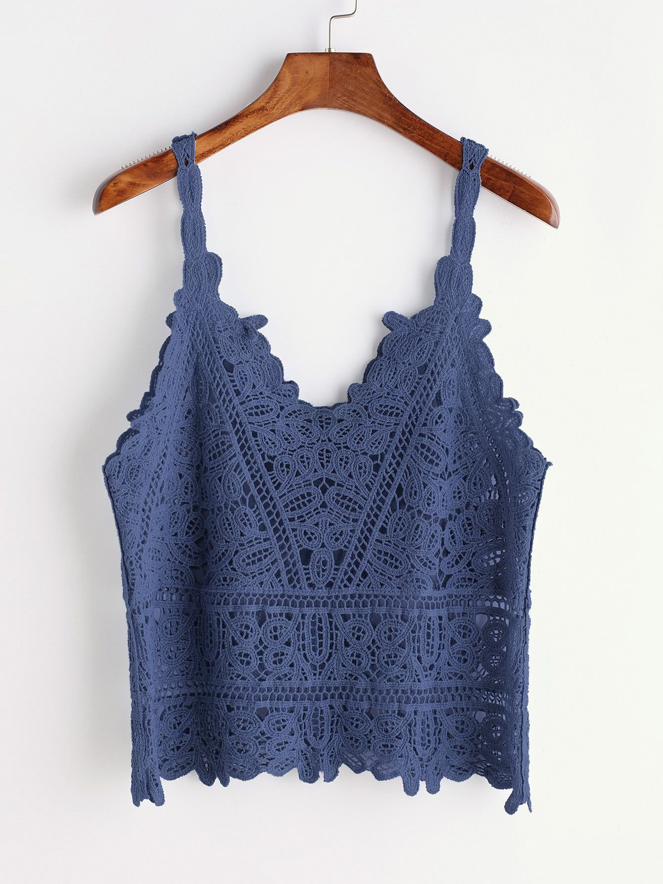 955ccf56c4dd75 Blue Crochet Hollow Out Cami TopFor Women-romwe