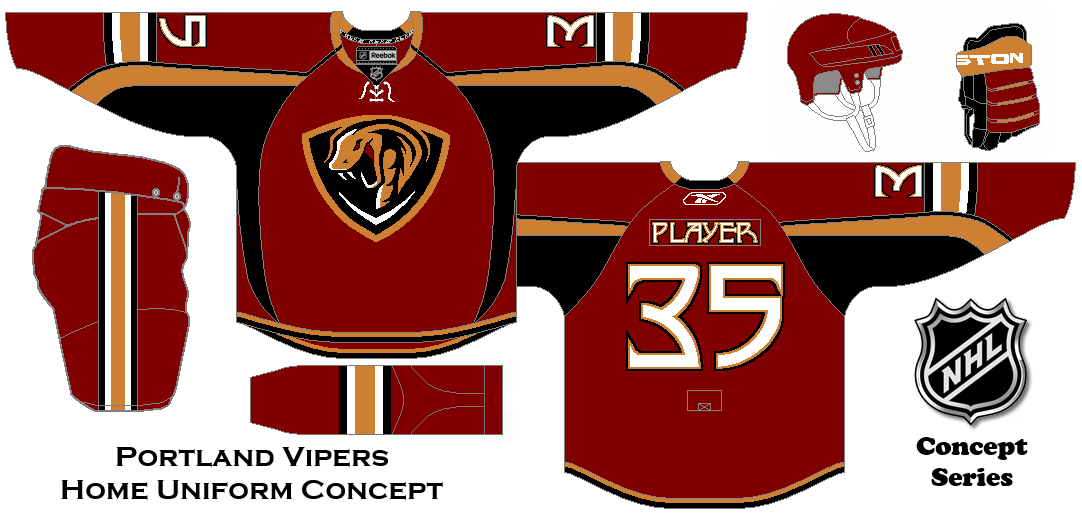 Nhl Expansion Series Concept Portland Vipers Home Uniform Hockey Uniforms Hockey Jersey Hockey