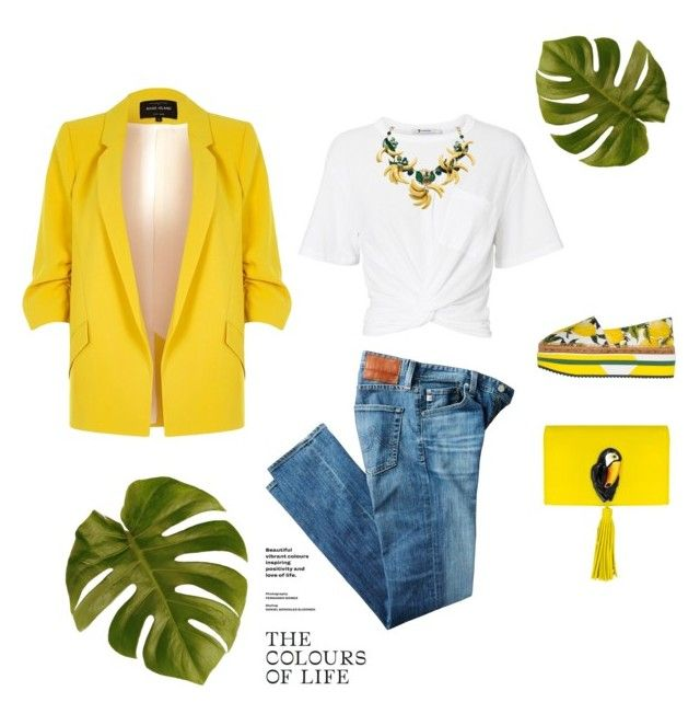 """""""🍋🌿"""" by deborah-lefert ❤ liked on Polyvore featuring River Island, AG Adriano Goldschmied, T By Alexander Wang, Nach Bijoux and Dolce&Gabbana"""
