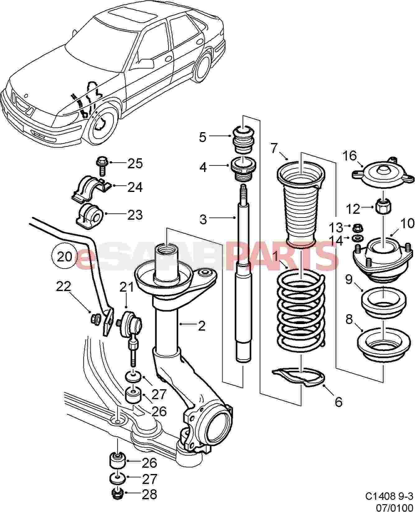 hight resolution of esaabparts com 1999 saab 9 3 parts suspension wheels front suspension front suspension