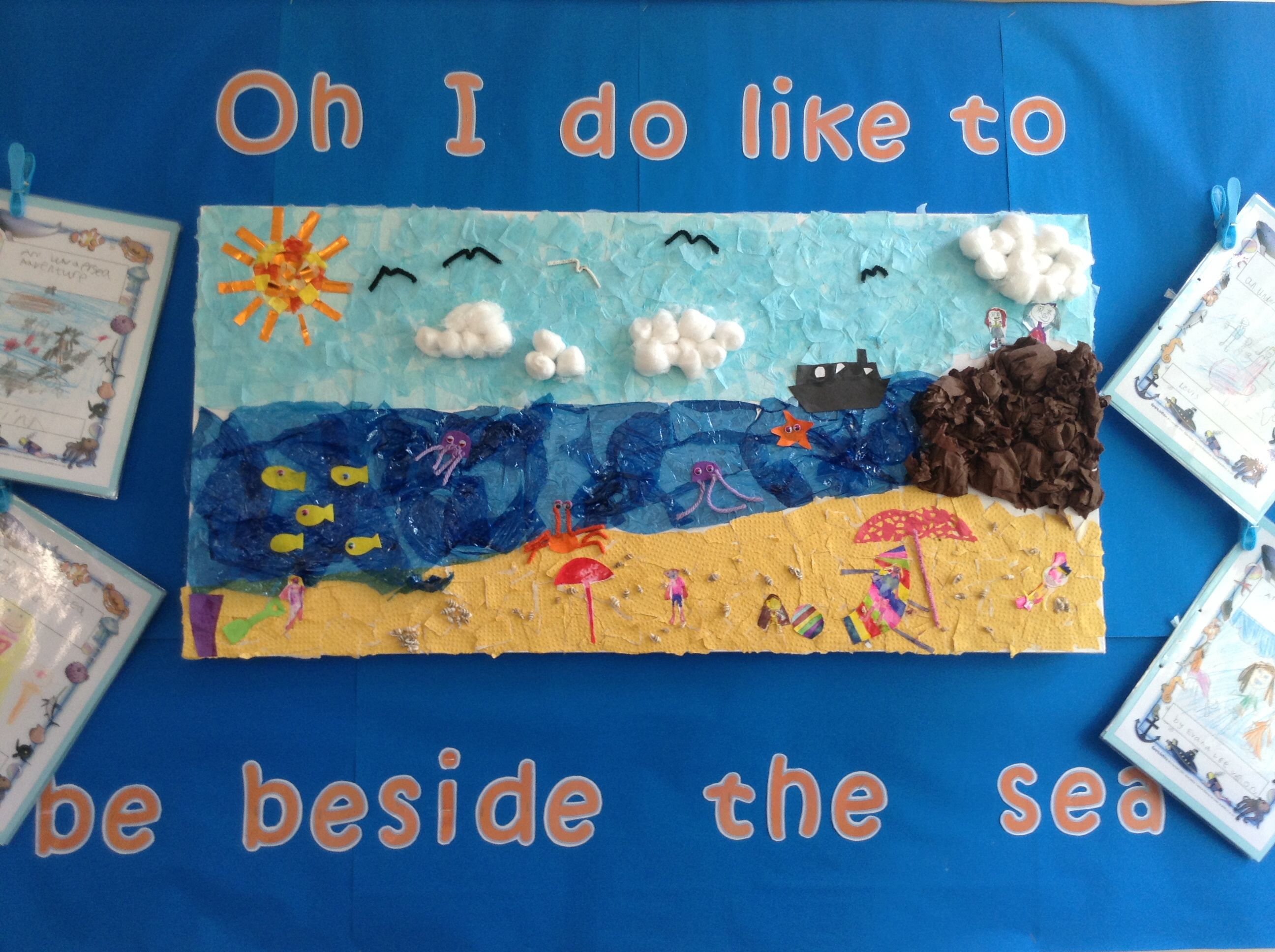 Seaside collaborative collage | Sea activities, Seaside art, Seaside theme
