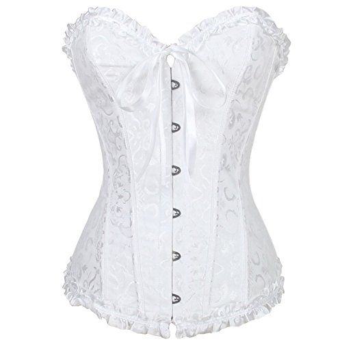 Shaperdiva Womens Overbust Lace White Bustier Plus Size Bridal Corset Top Body Shaper 6xl Waist 4042inch