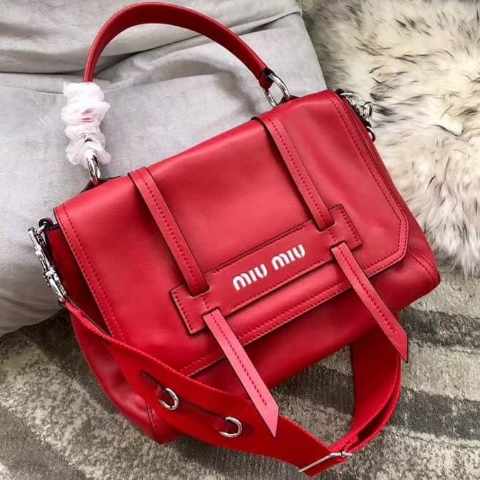 44399720d522 Miu Miu Grace Lux Leather Shoulder Bag 5BD078 Red 2018