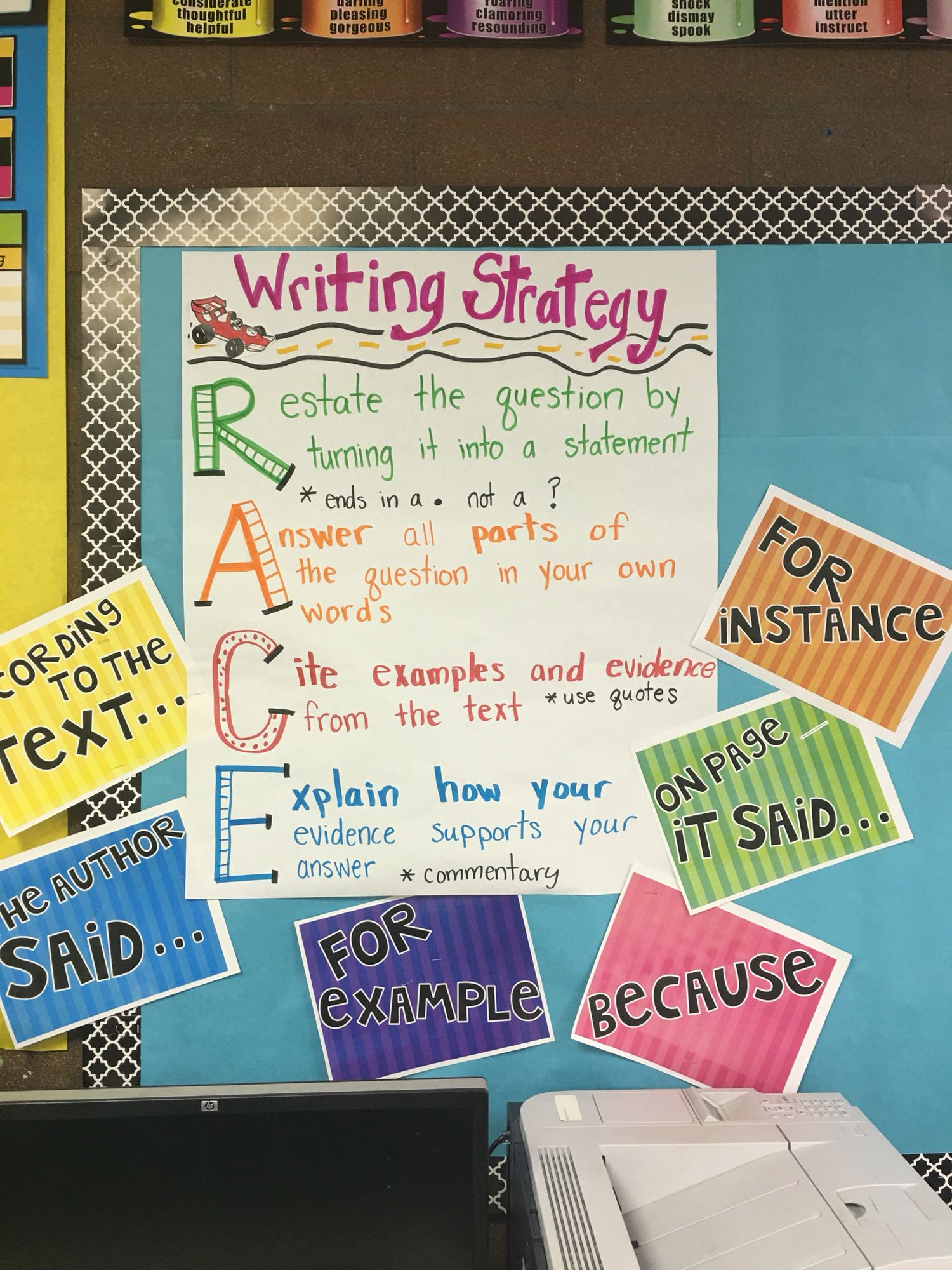 Race Constructed Response Framework For Writing