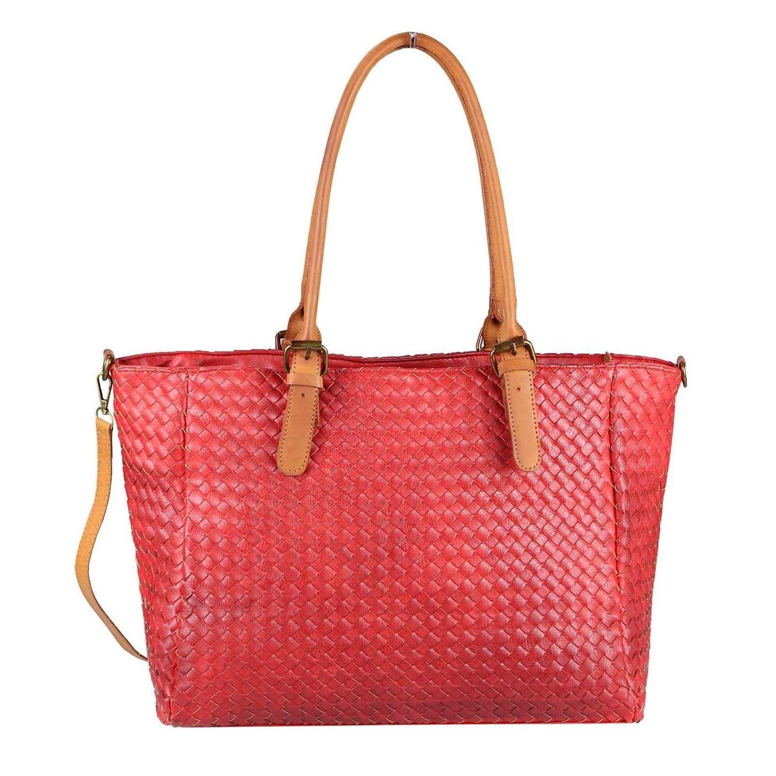 Shopper Flecht Tasche Tote Bag Henkeltasche Damen Handtasche dxroCBWQeE