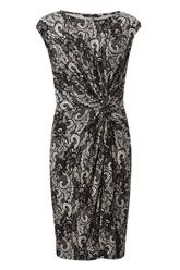 Side Knot Detail Lace Printed Dress