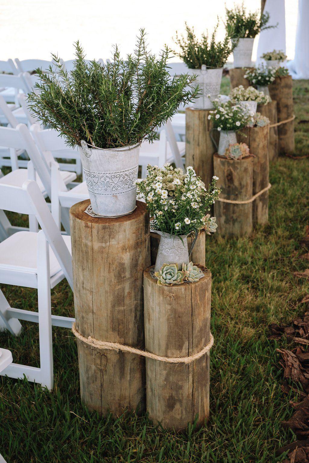 A Rustic Hangar Wedding #blog Rustic Ceremony Wedding Decor – Farm-Forest Weddin… - Modern