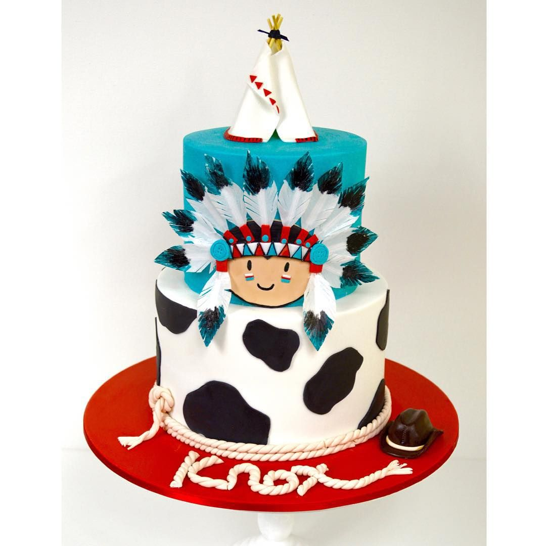 Amerikanischer Kuchen Cowboys And Indian Themed 1st Birthday Cake Fondant
