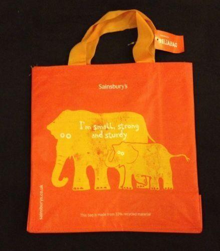Sainsbury S Elephant Eco Tote Bag Reliabag Uk Orange Reuse Recycled Plastic New