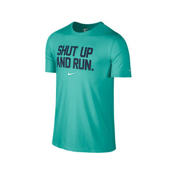 Nike Men's Shut Up and Run T-Shirt ($17) ❤ liked on Polyvore featuring men's fashion, men's clothing, men's activewear, men's activewear tops, green, mens dri fit shirts, mens green shirt, mens athletic shirts, mens activewear and mens print shirts