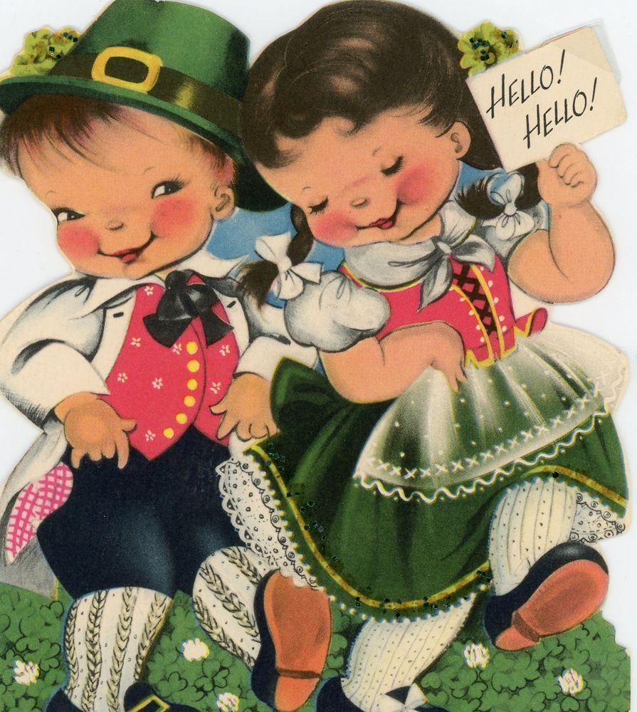 Vintage Norcross Christmas Greeting Card Children Of Ireland Eb6880