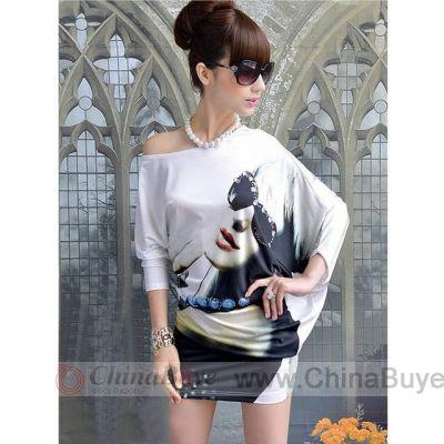 Women's Clothing: Fashion Figure Print Oblique Shoulder Irregular Ba...