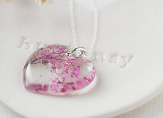 925 Silver Sakura Cherry Blossoms Pink Sapphire Necklace Pendant Jewelry Gift