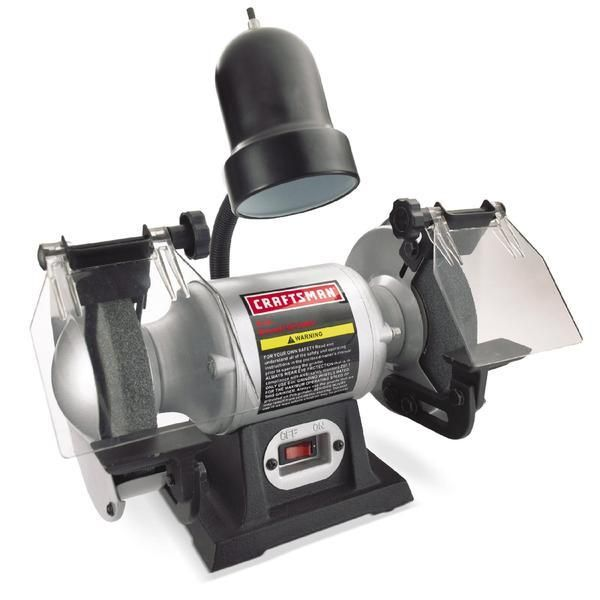 Craftsman 1 6 Hp 6 Bench Grinder With Lamp 21124 Bench Grinder Craftsman Power Tools Bench Grinders