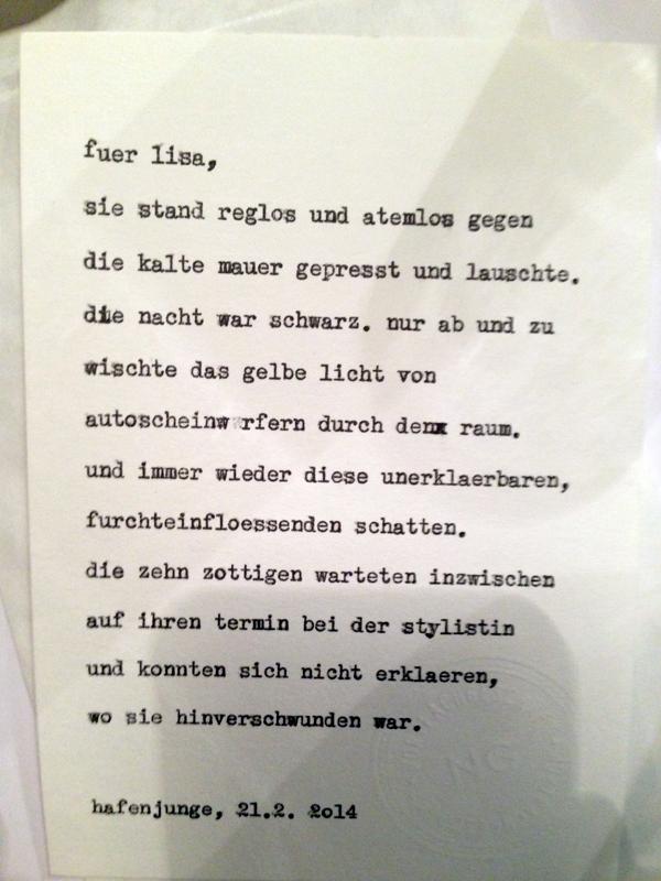 """Lisas Inspirationsworte: die zehn Zotteligen. Diese Karte entstand im Hafenjungen in Wien unter dem Motto """"Happy Typing für Drinks"""". Fotos daher teilweise etwas unscharf … :-)"""