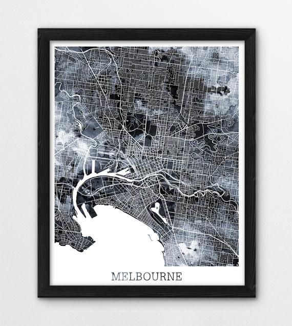 Melbourne city urban map poster melbourne street map print grey black white watercolor melbourne australia modern travel printable art printable art