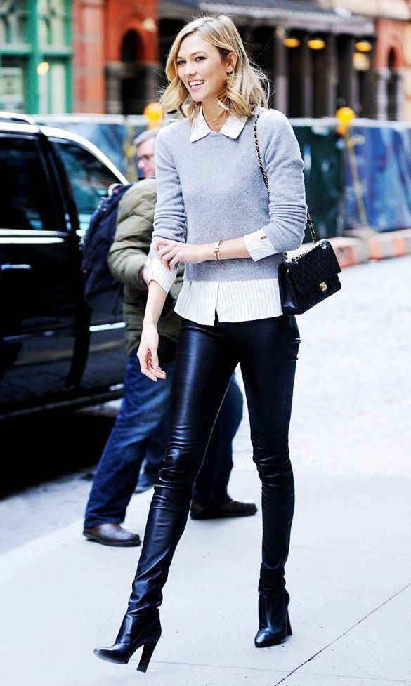 5fbb89ec482794 Karlie Kloss steps out in a grey sweater and button-up combo, leather pants  and boots.