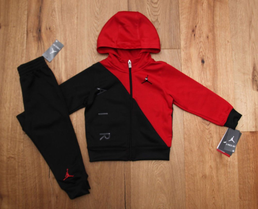 8f1f735c32e10a Air Jordan Baby Boy 2 Piece Hooded Jogging Set ~Tracksuit ~Black   Red ~ Jumpman  Jordan  Tracksuit  Jogging