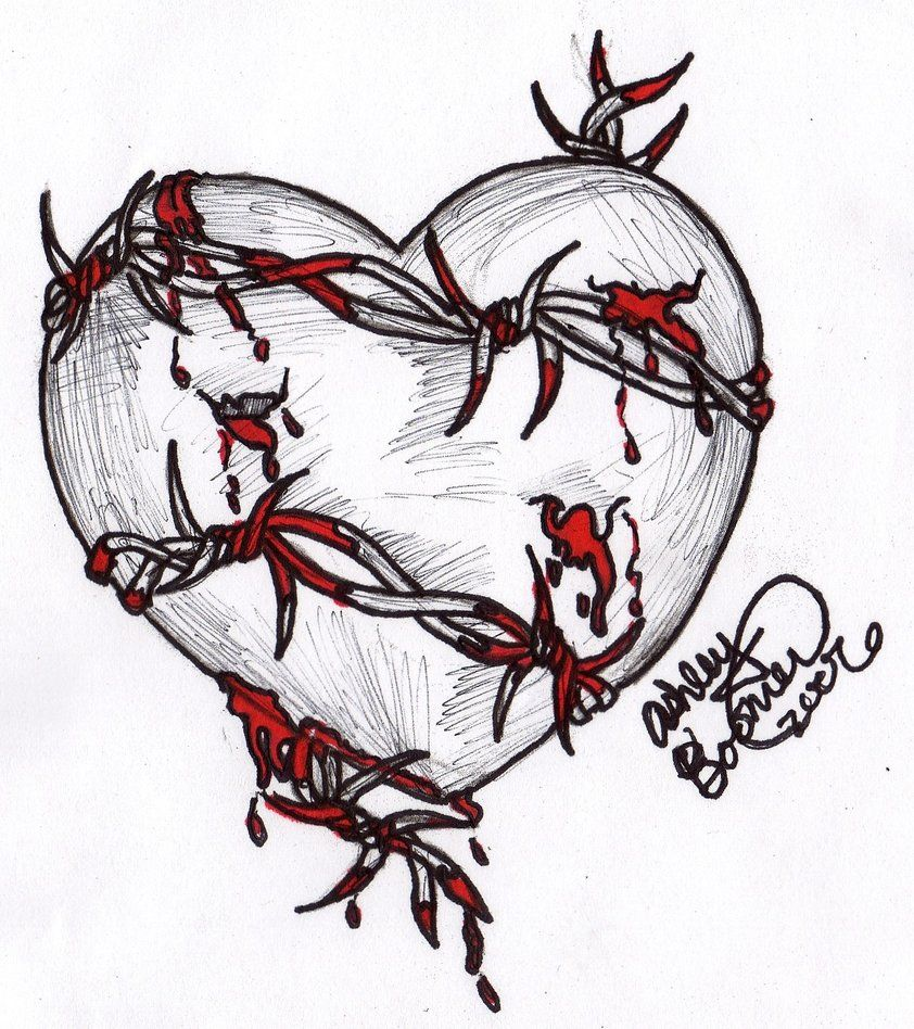The title gives it away... it\'s just a heart with barbed wire ...