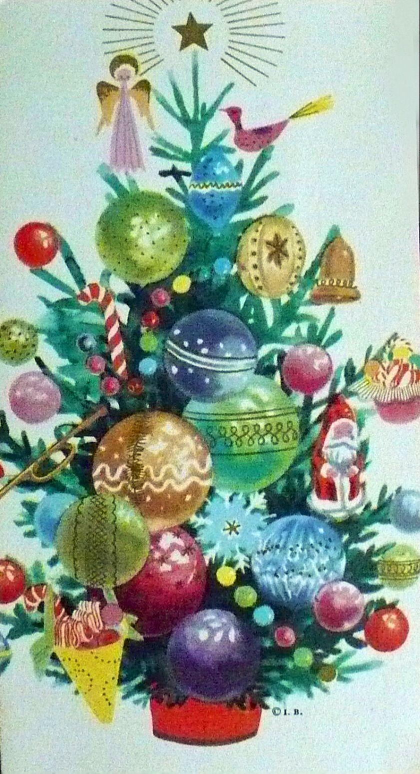 Vintage Christmas card. Árbol de Navidad