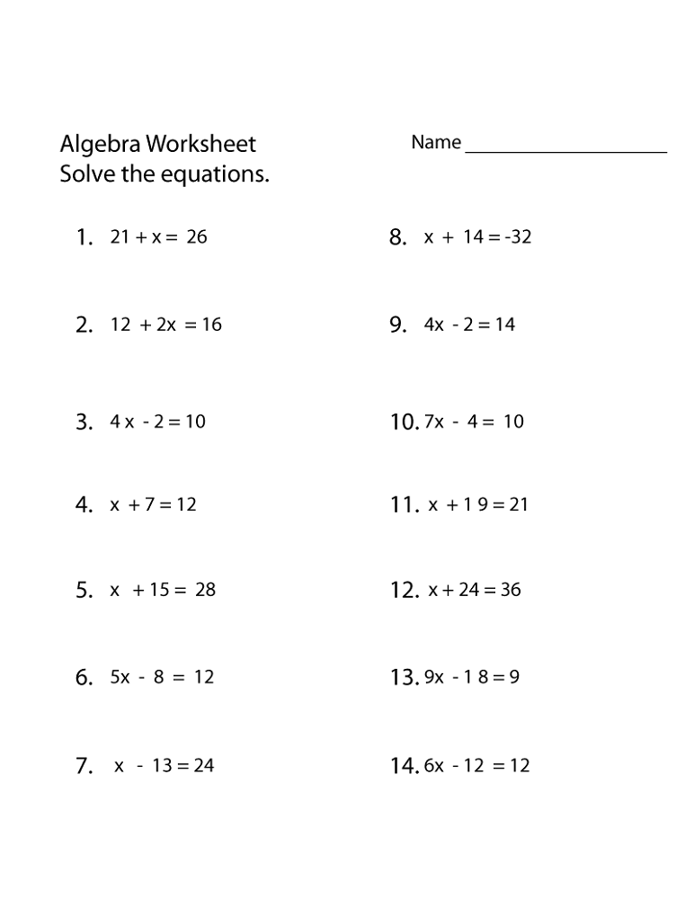 Primary Maths Worksheets Algebra Free Printable Printable Shelter Algebra Worksheets Algebra Equations Worksheets Basic Algebra Worksheets