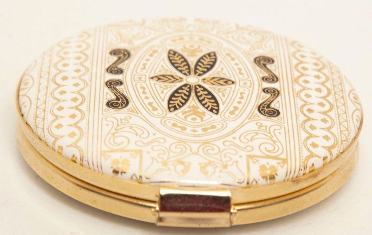 Vintage Italian Compact Mirror Made Italy Embossed Calf