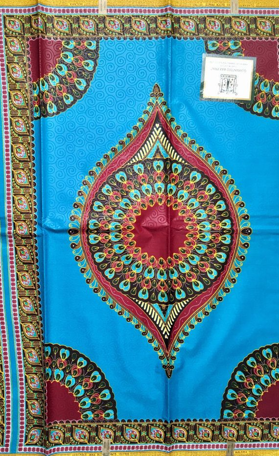 Dashki Fabric African Fashion Ankara Kitenge African: African Dashiki Print Fabric/ Ankara Blue & Brown Dashiki
