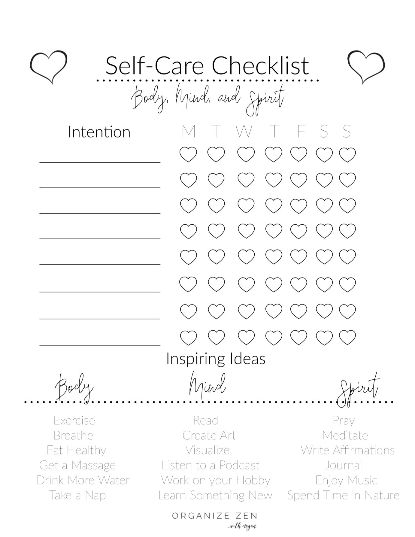 Self Care Checklist Free Printable Self Care Worksheets Self Care Bullet Journal Self Care
