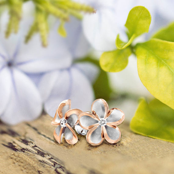 Plumeria Rose Gold Plated Trim CZ Earrings Hawaiian Jewelry on