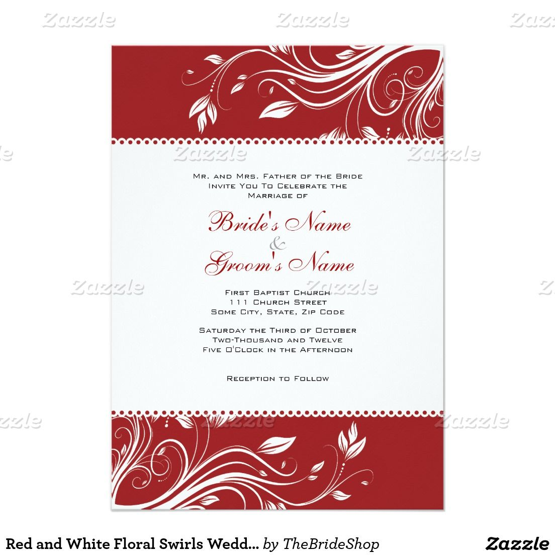 Red and White Floral Swirls Wedding Invitation | Floral, Weddings ...