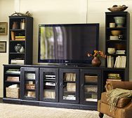 Same as the brown one but with towers & in black I would like the tv on the wall better