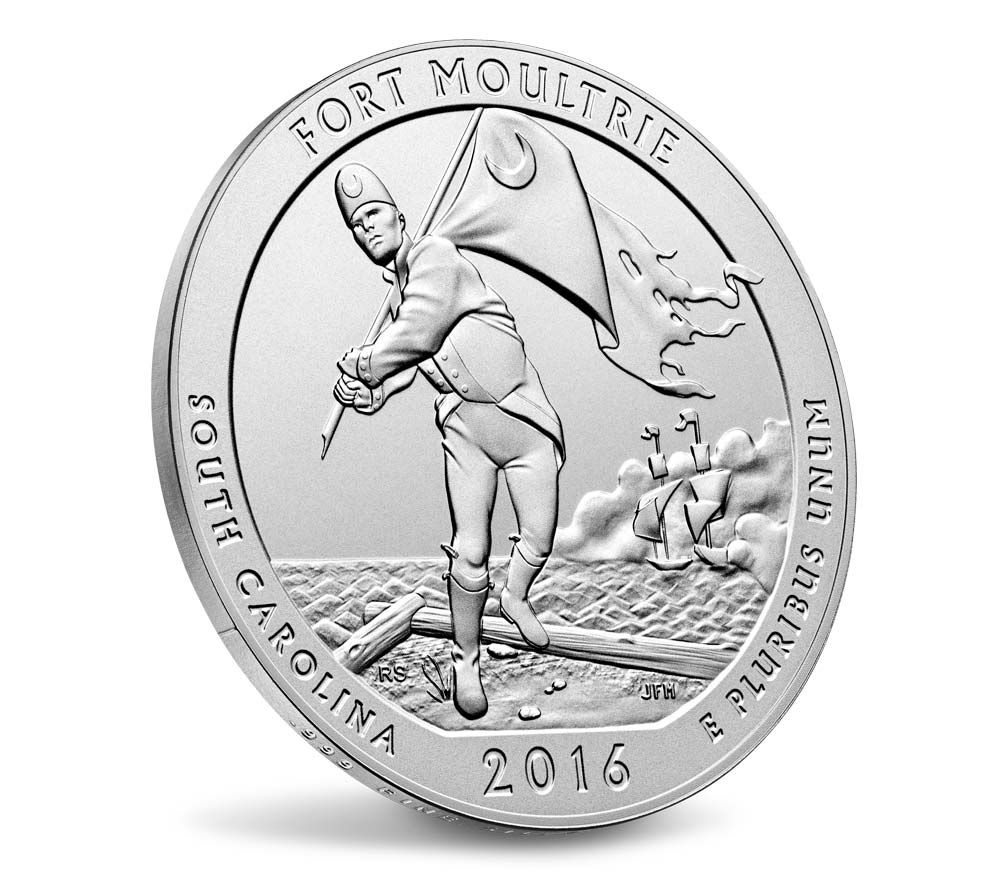 capsule FORT MOULTRIE 2016 5-Ounce .999 fine Silver America The Beautiful Coin