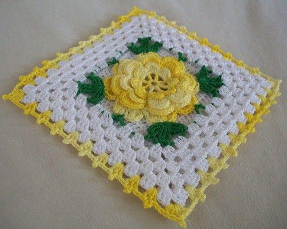 Vintage-Stil Thread häkeln Topflappen in schattigen gelb ...