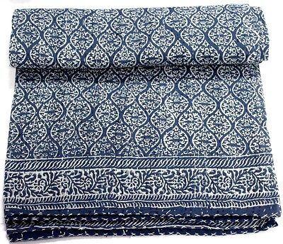 Indigo Blue Hand Block Dabu Print Cotton Kantha Bed Cover Bedspread Quilt Throw