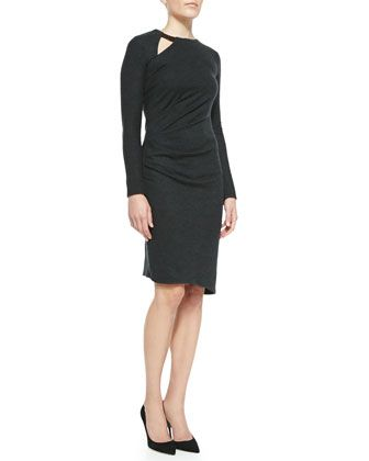 Wool Side-Pleat Long-Sleeve Dress by Halston Heritage at Neiman Marcus.