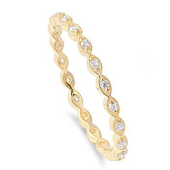 Stackable Eternity Ring Clear CZ Yellow Gold Plated Sterling Silver 2MM Size 9