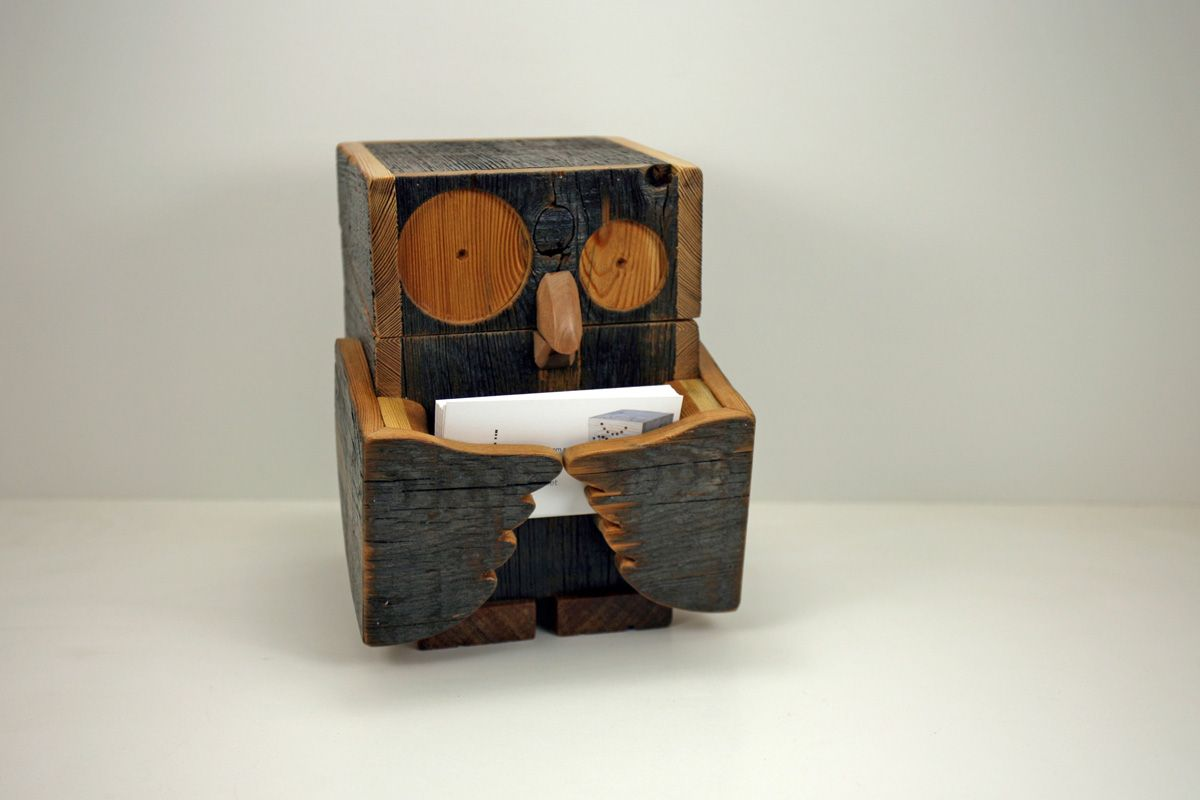 reclaimed wood owl business card holder box | Handmade Housewares at ...