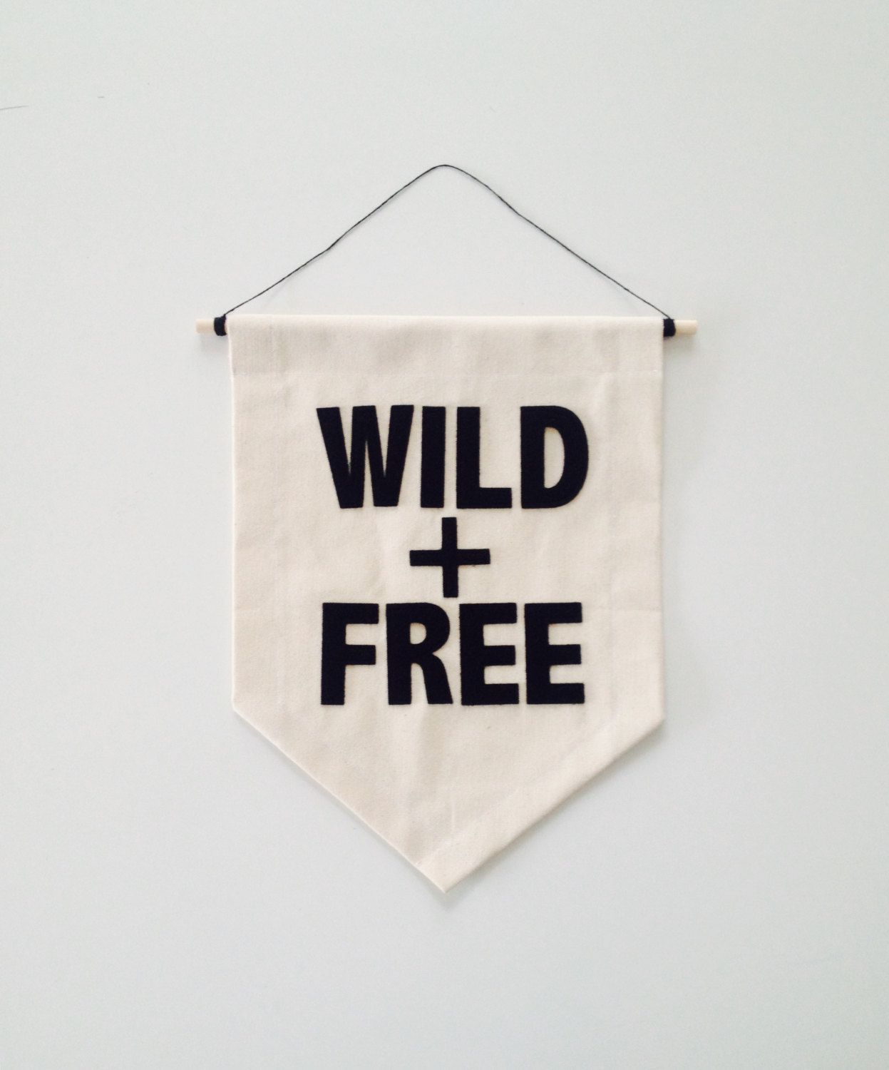 Hanging Flag On Wall canvas fabric wall banner - wild + free - customizable - 10.5 x 14